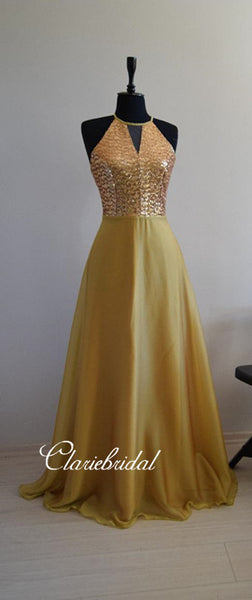 Newest Gold Sequin Elastic Satin A-line Bridesmaid Dresses
