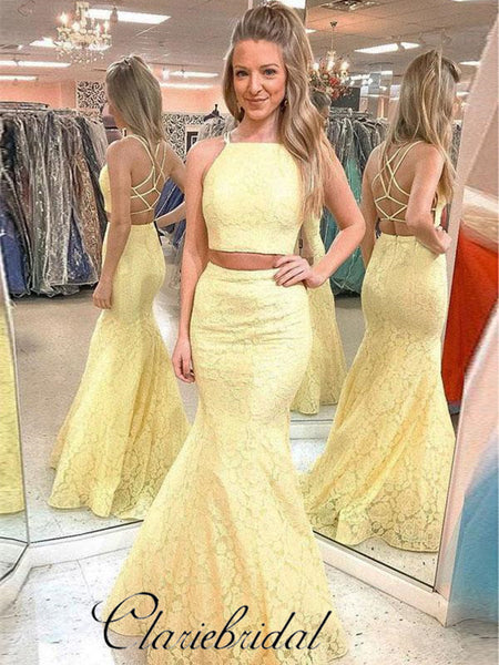 2 Pieces Yellow Lace Prom Dresses, Mermaid Prom Dresses, Popular Prom Dresses