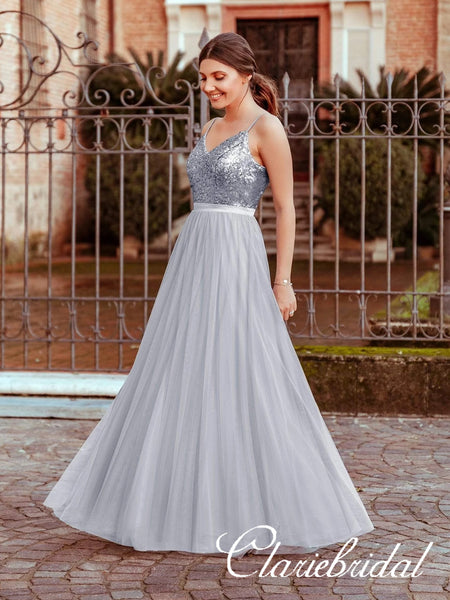 V-neck Sequin Top Long A-line Tulle Prom Dresses, Simple Long Prom Dresses, Affordable Prom Dresses