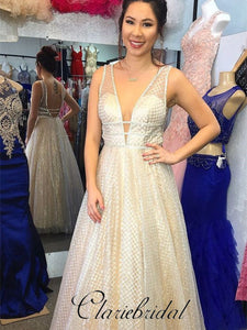 V-neck Sequin Tulle Long A-line Prom Dresses, Special Prom Dresses, Prom Dresses