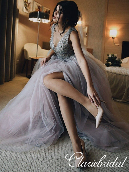 V-neck Lace Beaded Side Slit Long Homecoming Dresses, Prom Dresses