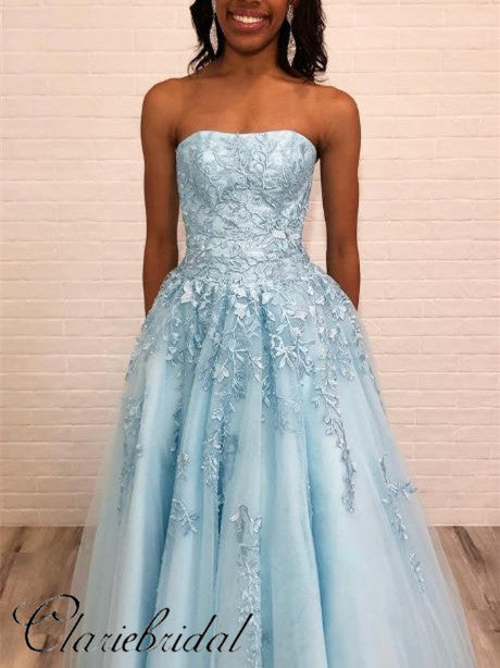 Strapless Light Blue Lace A-line Tulle Prom Dresses, Long Prom Dresses, Prom Dresses
