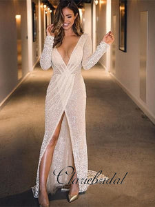 Deep V-neck Long Sleeves Front Slit Ivory Sparkle Prom Dresses