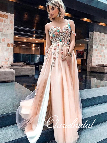 Sweetheart Long A-line Lace Appliques Long Prom Dresses, Side Slit Prom Dresses