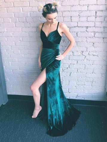 Simple Emerald Green Velvet Prom Dresses, Side Slit Prom Dresses, Long Prom Dresses