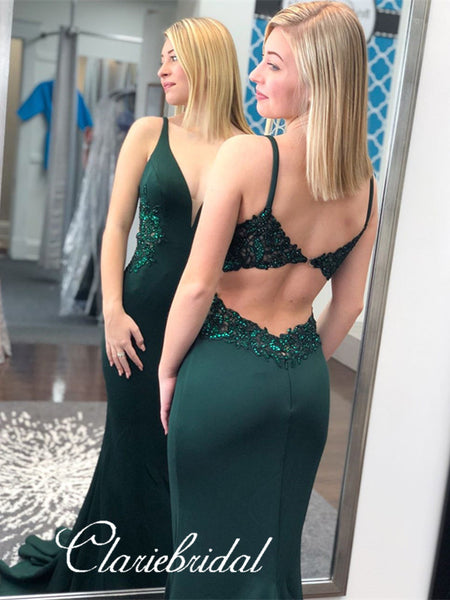 Emerald Green Jersey Appliques Beaded Long Prom Dresses, Mermaid Prom Dresses