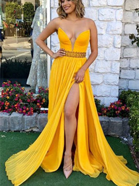 V-neck Yellow Chiffon Side Slit Prom Dresses, Long Prom Dresses, Popular Prom Dresses