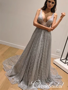 Deep V-neck Silver Sequin Tulle Long A-line Prom Dresses, Shiny Prom Dresses