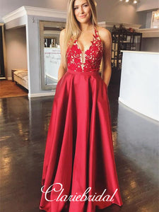 Halter Red Satin Lace Prom Dresses, A-line Prom Dresses, Long Prom Dresses