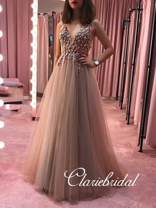 V-neck Long A-line Beaded Tulle Prom Dresses, Long Prom Dresses, New Prom Dresses
