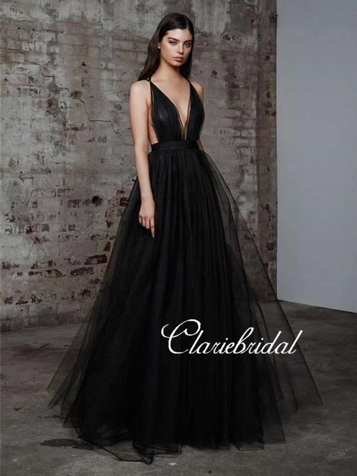 Deep V-neck Black Tulle Prom Dresses, Long A-line Prom Dresses, Chic Prom Dresses
