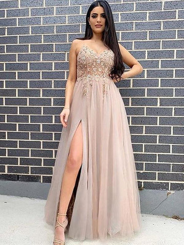 Spaghetti Straps Tulle Long Prom Dresses, 2021 Girl Evening Dresses, Party Dresses