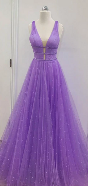 V-neck Purple Tulle Beaded Prom Dresses, Lovely Prom Dresses, Long 2020 Prom Dresses
