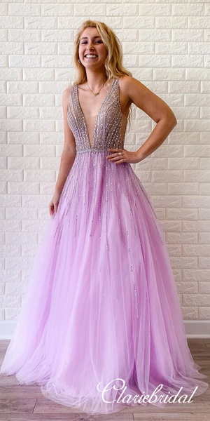 V-neck Long Prom Dresses, Purple Tulle Beaded Prom Dresses, Popular Prom Dresses