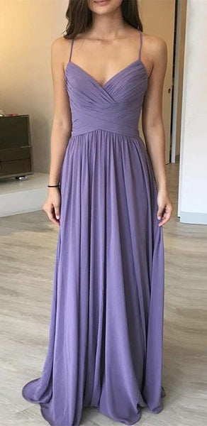Spaghetti Long A-line Purple Chiffon Bridesmaid Dresses, Long Bridesmaid Dresses