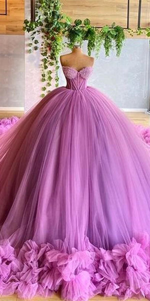 Sweetheart Long Ball Gown Purple Tulle Prom Dresses, Lovely Prom Dresses, Princess Evening Dresses