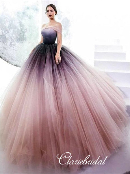 Off Shoulder Obrem Prom Dresses, Long A-line Tulle Prom Dresses, Fluffy Prom Dresses
