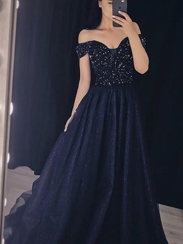 Off Shoulder Long A-line Navy Rhinestone Beaded Prom Dresses, Long Prom Dresses, 2020 Prom Dresses