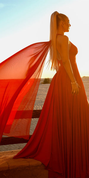 Simple V-neck Red Chiffon Prom Dresses, A-line Long 2021 Prom Dresses, Popular Prom Dresses