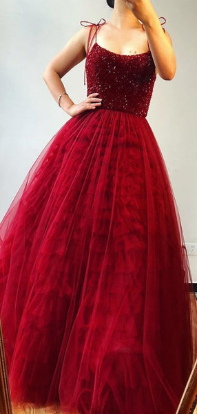 Red Long Prom Dresses, A-line Prom Dresses, Beaded Tulle Prom Dresses, 2020 Prom Dresses