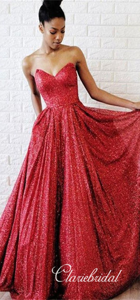 Sweetheart Long A-line Red Sequin Prom Dresses, A-line Prom Dresses, Sparkle Prom Dresses