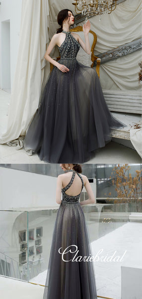 New Claire Design Dark Grey Rhinestone Beaded Long Prom Dresses, Chic Prom Dresses