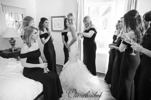 Off The Shoulder Bridesmaid Dresses, Black Mermaid Bridesmaid Dresses