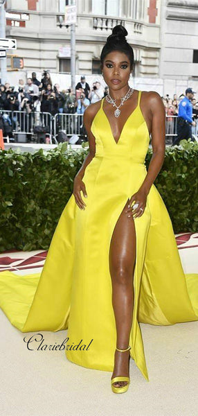 Yellow Unique Celebrity Prom Dress, Popular Satin Prom Dresses, V-neck Prom Dresses
