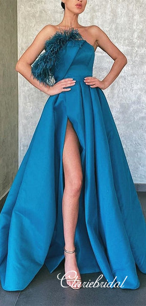 One Shoulder Long A-line Blue Satin Feather Prom Dresses, Side Slit Chic Prom Dresses, Long Prom Dresses
