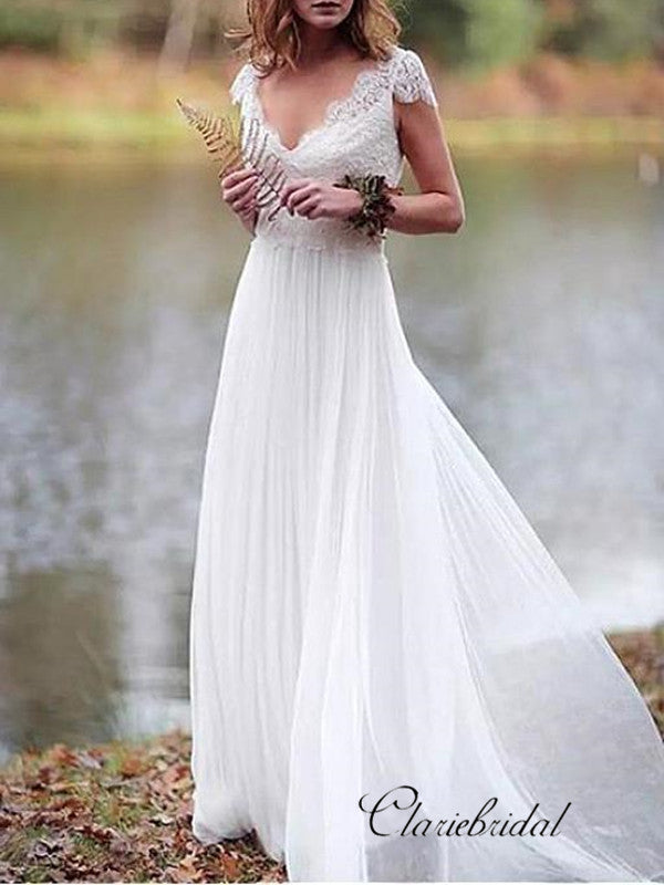 Cap Sleeves V-neck Summer Wedding Dresses, Newest Popular Lace Wedding Dresses