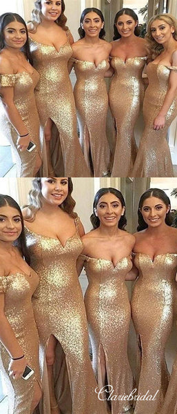 Off Shoulder Gold Sequin Side Slit Long Bridesmaid Dresses