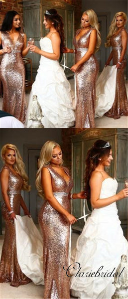 V-neck Sequin Mermaid Bridesmaid Dresses, Beaded Bridesmaid Dresses