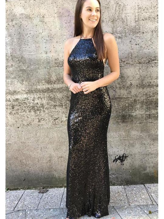 Black Sequin Sheath Prom Dresses, Long Prom Dresses, Simple Prom Dresses