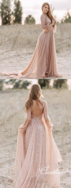 V-neck Long Sleeves Bling Sequin Tulle Prom Dresses, Long Prom Dresses