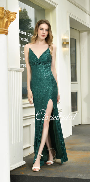 Spaghetti Long Mermaid Side Slit Emerald Green Sequin Prom Dresses, Long Prom Dresses
