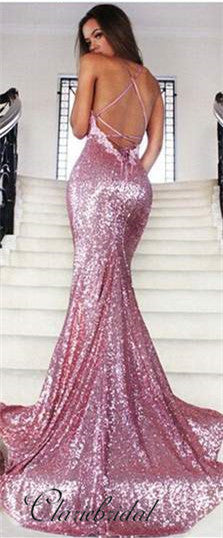 Cross Back Pink Sequin Mermaid Prom Dresses, Appliques Prom Dresses, Prom Dresses