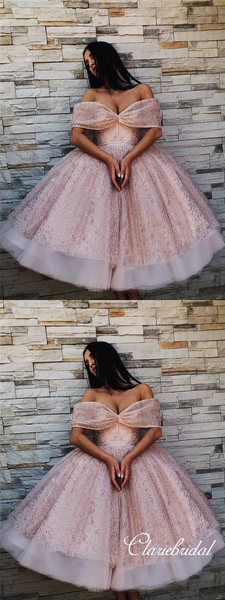 Off Shoulder Rose Gold Sequin Tulle Fluffy Homecoming Dresses