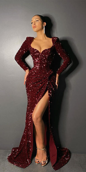 Long Sleeves Burgundy Sequin Prom Dresses, Sexy Side Slit Prom Dresses, 2021 Long Prom Dresses