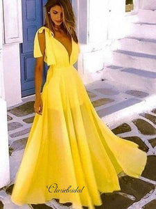 Simple Yellow Prom Dresses, Cheap Chiffon Prom Dresses, A-line Prom Dresses Long