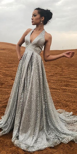 V-neck Halter Long A-line Silver Grey Sequin Tulle Prom Dresses, Newest 2021 Prom Dresses