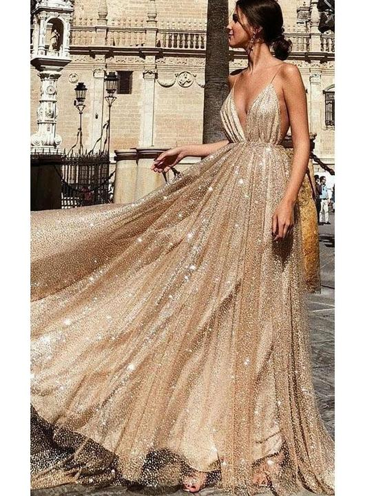 Spaghetti Long A-line SHiny Sequin Tulle Prom Dresses, Long Prom Dresses