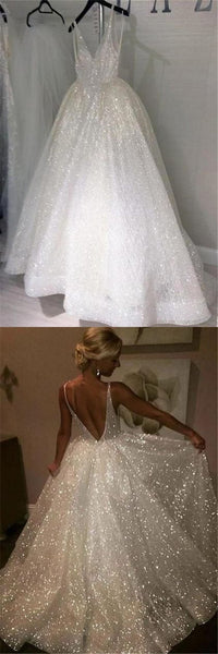 V-neck Long A-line Sparkle Wedding Dresses