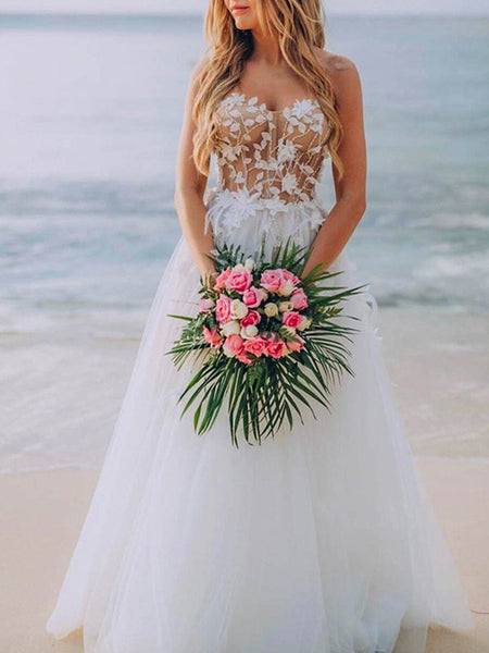 Strapless Simple Lace A-line Wedding Dresses, Sweetheart Beach Lace Wedding Dresses
