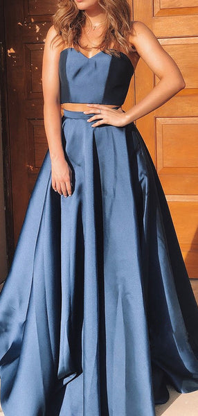 Two Pieces A-line 2021 Long Prom Dresses, Strapless Simple Party Prom Dresses