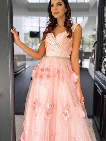 Appliques Elegant Long Prom Dresses 2021, Popular A-line Graduation Girl Dresses