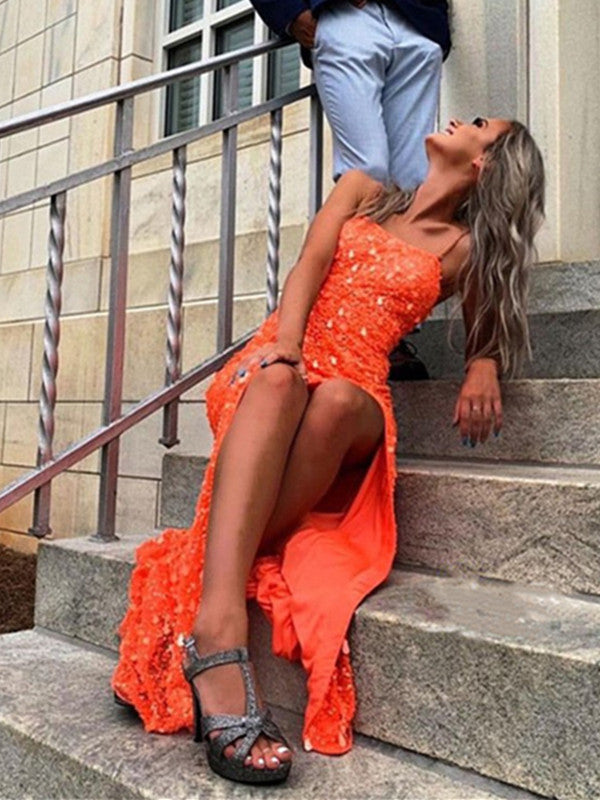Orange Sequins Spaghetti Straps Long Prom Dresses, Sparkly 2021 Newest Prom Dresses