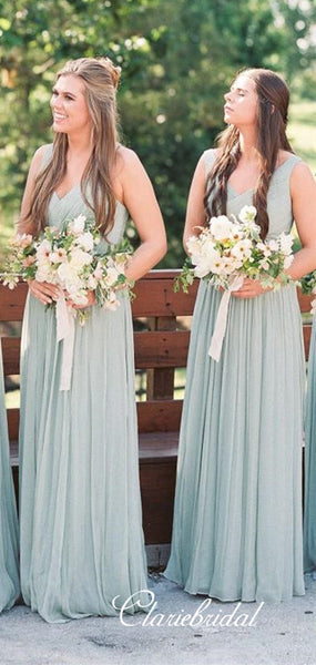 V-neck Dusty Green A-line Tulle Long Bridesmaid Dresses