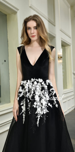 V-neck Long A-line Black Tulle Lace Prom Dresses, Simple Elegant Prom Dresses, Long Prom Dresses