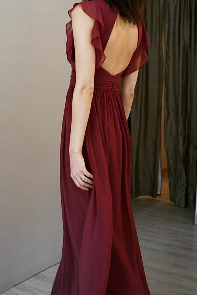 Cap Sleeves V-neck Long A-line Chiffon Bridesmaid Dresses