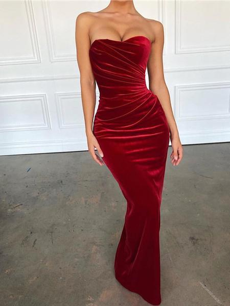 Sexy Strapless Red Velvet Prom Dresses, Mermaid Prom Dresses, Popular Prom Dresses
